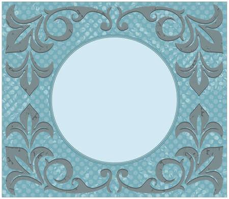 cerchio cornice retrò con grunge ornamento ed elementi floreali. Telaio d'epoca può essere utilizzato per biglietto di auguri, invito, poster.