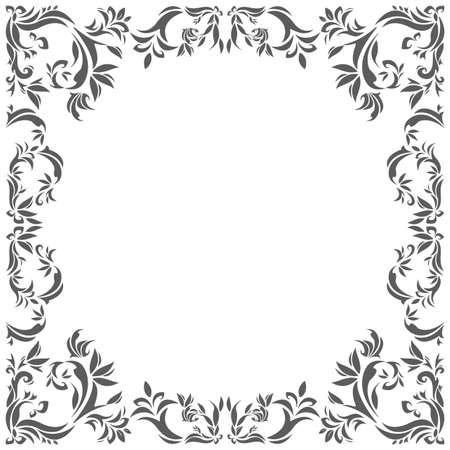 Vintage circle frame with floral elements for your designs