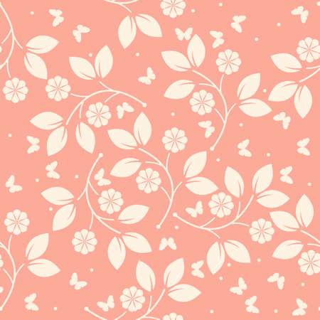 Elegante modello infinito con farfalle, fiori e foglie può essere utilizzato per carta, lino, carta da parati, trame di superficie, tessuto, tessuto di design e disegni più creativi.