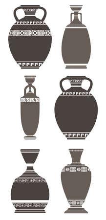 Set of elegant antique vases on white background. Stylish greek vases can be used for your creative designs. Çizim