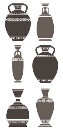 Set of elegant antique vases on white background. Stylish greek vases can be used for your creative designs. Illustration