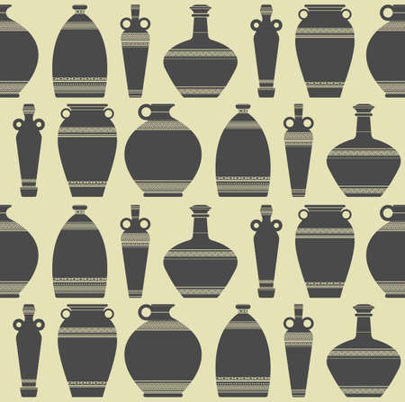 ancient civilization: Seamless pattern with vases silhouettes on beige background. Stylish template can be used for wallpaper, cards, web pages, textile and more creative designs.