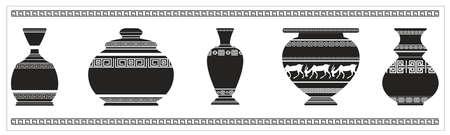 Set van anvicent Griekse vazen met geometrische ornamenten