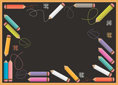 blackboard background: Vector school blackboard with colorful pencils and place for text. Decorative template can be used for your creative designs.