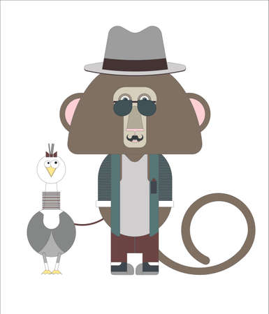 congratulations sign: Stylish hipster monkey with  Gull bird for your designs. Can be used for the New Year and Christmas cards, sign boards and congratulations.