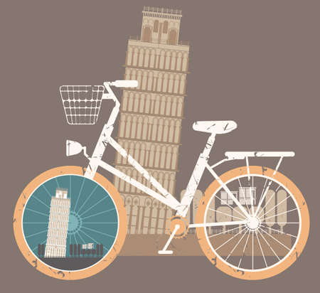 touristic: Touristic poster with Leaning Tower of Pisa. Vector Illustration of Retro bicycle for your designs. Illustration