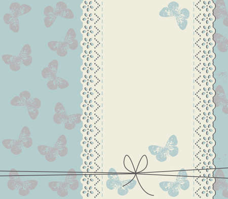 lace frame: Wedding invitation with cute butterflies. Unique Greeting card with stylish lace frame.