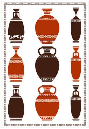 vasi greci: Illustrazione di greci antichi vasi con meandri Vettoriali