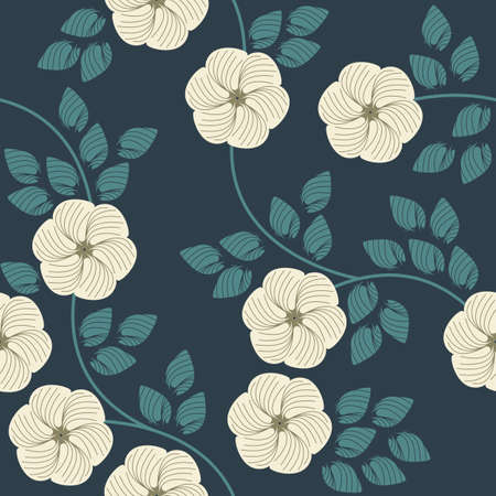Stylish seamless  pattern with beautiful flowers and leaves. Retro template can be used for design fabric, linen and more designs.