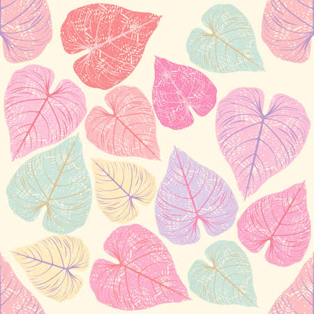 Modelo inconsútil de la moda con hojas de color rosa se puede utilizar para fondos de pantalla, texturas de la superficie, textil, azulejo, niños paño, patrones de relleno, fondos de páginas web y más diseños.