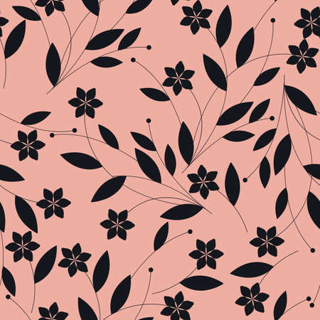 Seamless pattern with black flowers on pink background. elegant template can be used for design fabric, linen, tile, textile wallpaper and more creative designs.