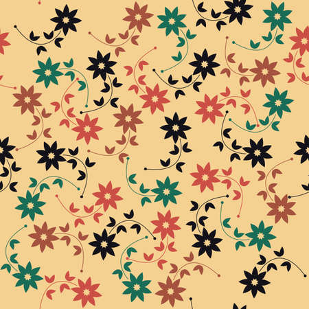 repeated: Spring seamless pattern with decorative flowers and leaves can be used for wallpapers,  surface textures, textile, kids cloth, pattern fills, web page backgrounds and more creative designs.