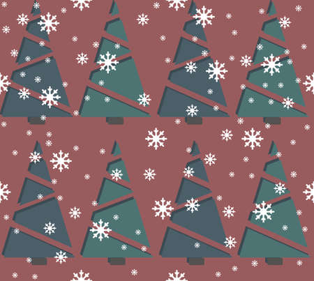 christmas wallpaper: Seamless pattern with Christmas tree and snowflakes. Stylish template can be used for  the New Year and Christmas greeting cards, sign boards, paper and textile.