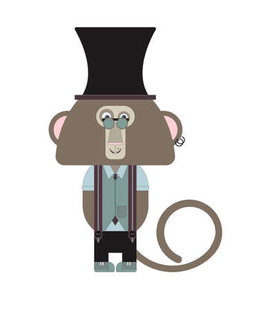 stove pipe: Stylish hipster monkey for your designs. Can be used for the New Year and Christmas cards, sign boards and congratulations.