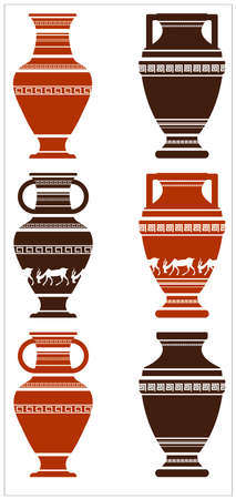 vases: Illustration of greek ancient vases with meanders and animals. Set of greek ancient vases with meanders elements and animals