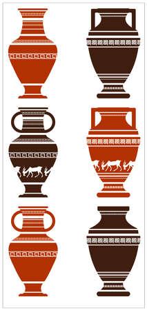 vasi greci: Illustrazione di greci antichi vasi con meandri e gli animali. Set di greco vasi antichi con elementi meandri e animali