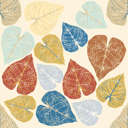 Seamless Stylized Ivy Leaves Pattern Vector Template For Design