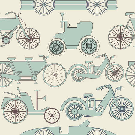 old cars: Endless patterns with old cars and bikes can be used for paper, linen , wallpaper, tissue, design fabric and more creative designs.
