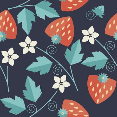 stalk flowers: Cute seamless pattern with red strawberries kernels, leaves, stalk, flowers and tendrils can be used for design fabric, textile, linens and more creative designs.