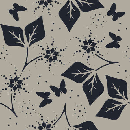 tender: Decorative seamless pattern with cute butterflies, flowers and leaves can be used for paper, linen , wallpaper, surface textures, tissue, design fabric and more creative designs.