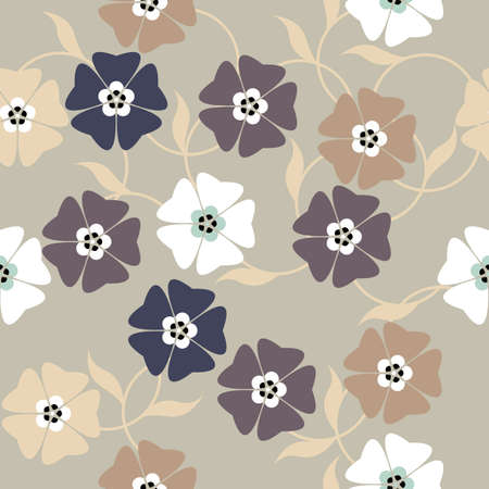 linens: Elegant endless pattern with spring flowers can be used for design fabric, textile, linens and more designs. Illustration