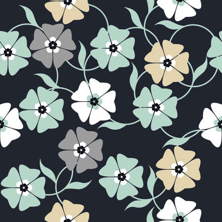linens: Elegant seamless pattern with colorful flowers on blue background can be used for design fabric, textile, linens and more designs.