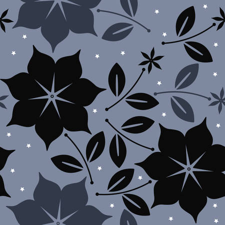 Elegant seamless pattern with flowers, leaves and stars can be used for design fabric, greeting cards, covers, linen, tile and more creative designs.
