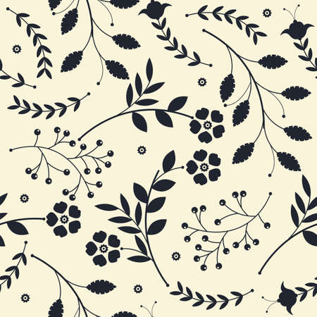 simplification: Endless pattern with  bouquets of flowers and leaves can be used for design fabric, backgrounds, wrapping paper, package, covers, linen and more designs.