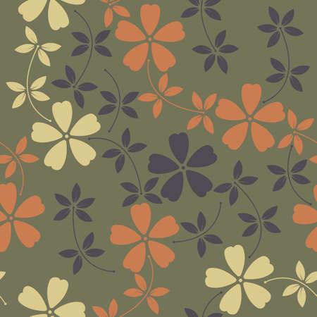 Modèle sans fin avec des fleurs décoratives et des feuilles sur fond vert. Le modèle peut être utilisé pour la conception de tissus, d'arrière-plans, de papier d'emballage, de emballages, de couvertures et de designs plus créatifs.