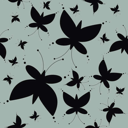 temlate: Endless pattern with elegant butterflies silhouettes can be used for design fabric, backgrounds, wrapping paper, package, covers, linen and more designs. Illustration