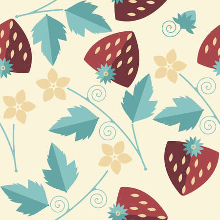 stalk flowers: Stylish seamless pattern with red strawberries kernels, leaves, stalk, flowers and tendrils can be used for wrapping paper, textile, linen, cover and more creative designs.