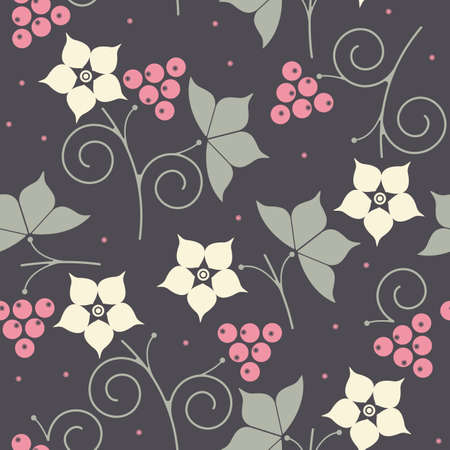 dewberry: Seamless pattern with dewberry, leaves and flowers on purple background can be used for for wallpapers, linen, tile, textile, kids cloth and more creative designs. Illustration