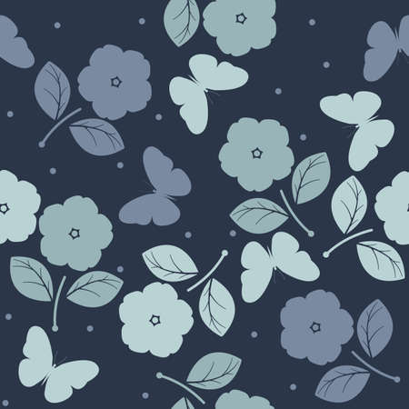 asian gardening: Seamless pattern with flowers and butterflies on blue background can be used for design fabric, backgrounds, wrapping paper, package, covers, linen and more designs.