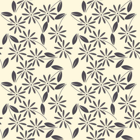 linens: Seamless pattern with purple silhouettes of chamomile flowers and leaves on ivory background. Template can be used for design fabric, textile, linens and more designs.