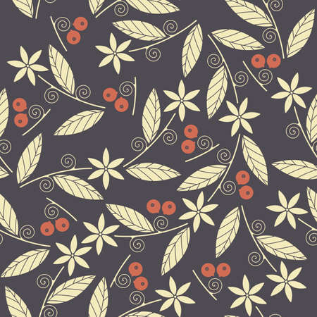 foxberry: Seamless pattern with the image of the berries cowberries, leaves and flowers.  Perfect for wallpapers, pattern fills,  page backgrounds, surface textures, textile and more designs.