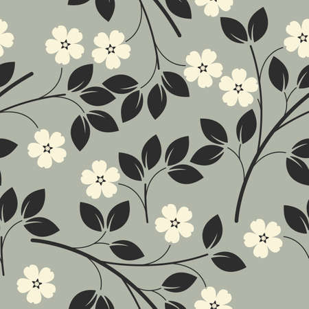 tiles texture: Stylish seamless pattern with flowers and leaves can be used for design fabric, backgrounds, wrapping paper, package, covers, linen and more designs. Illustration