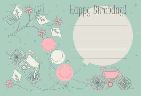 holyday: Romantic Birthday card  with cute bicycles, balloons and flowers can be used for  greeting card , baby shower invitations and more creative designs.