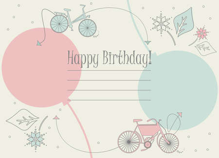 Stylish Birthday card with bicycles, balloons and flowers for your creative ideas.