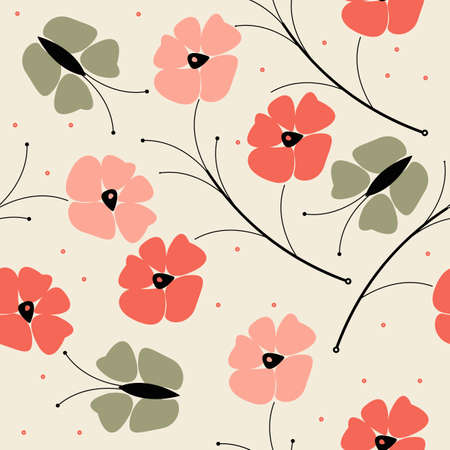 linens: Beautiful seamless pattern with colorful poppy flowers and butterflies can be used for design fabric,linens, wallpaper, greeting cards. Illustration