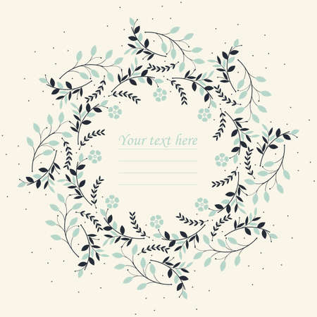 modest: Elegant round frame with plants and flowers can be used for greeting card, baby shower invitation, wedding invitation and more creative designs.