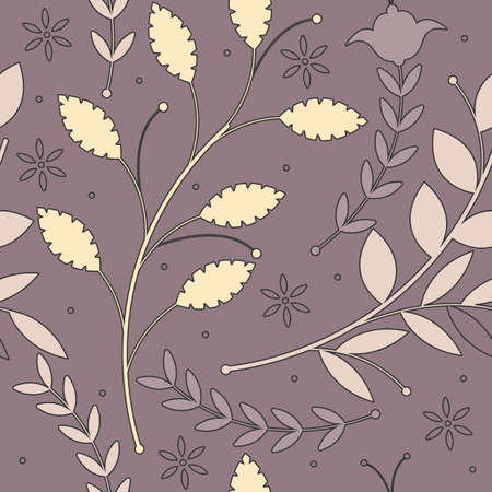 soulful: Endless pattern with soulful decorative plants on purple background can be used for design fabric, textile, linens and more creative designs.