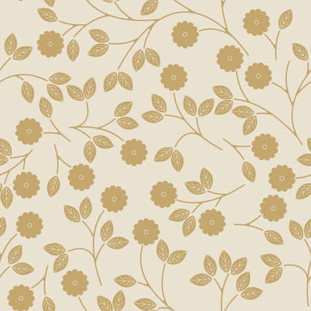 golden daisy: Seamless pattern with decorative flowers and leaves can be used for linen, tile design fabric, textile and more creative designs.