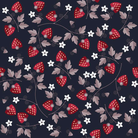linens: Seamless sweet strawberry pattern on blue background can be used for design fabric, textile, linens and more creative designs. Illustration