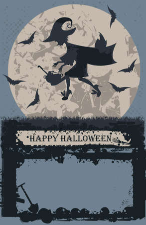flying witch: Halloween card with stylish flying witch. Vector image  can be used for Halloween greeting card, posters, banners , invitation and more designs.