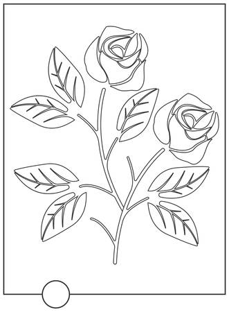 soulful: Coloring book with rose. Flat line flower isolated on white background. Vector image.