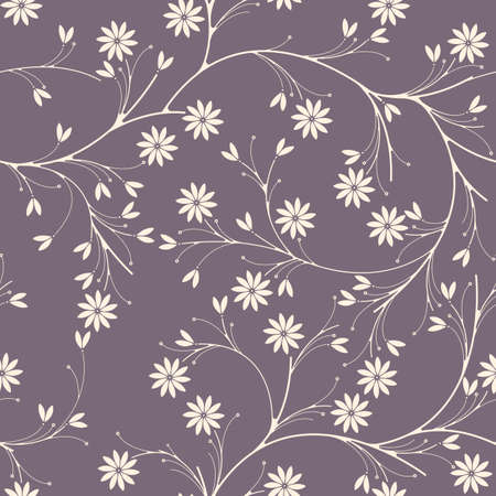 Elegant seamless pattern with chamomile flowers on purple background can be used for linen, tile design fabric, textile and more creative designs.