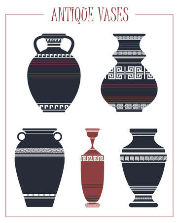 vases: Vector antique vases isolated on white background. Vector image.