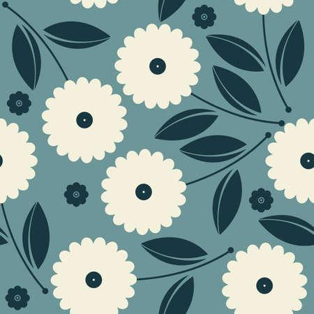 Modelo inconsútil hermoso con flores y hojas decorativas se puede utilizar para fondos de pantalla, texturas de la superficie, textil, ropa de niños, azulejos, telas, patrones de relleno, fondos de página y más diseños.