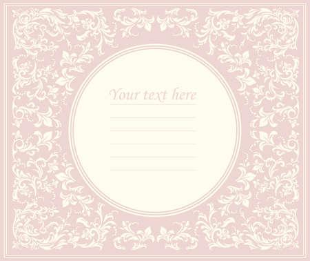 Bella cornice rotonda rosa con ornamento classico può essere utilizzato per l'invito di nozze, biglietto di auguri di compleanno, cover e disegni più creativi.