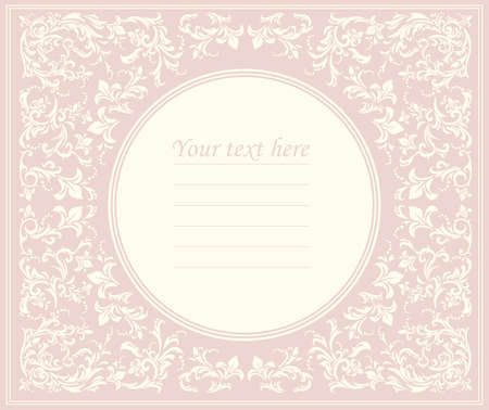 Beautiful pink round frame with classic ornament can be used for wedding invitation, birthday greeting card, cover and more creative designs.